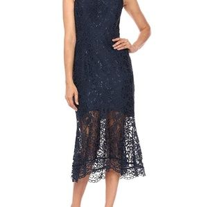 Nanette Lepore navy embroidered dress size 6 NWT